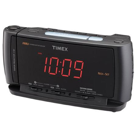 Timex Redi Set Dual Alarm Clock Radio with Soothing Sounds, Removable/Rechargeable Flashlight, Extreme Battery Back-up, Automatic Time Setting System image
