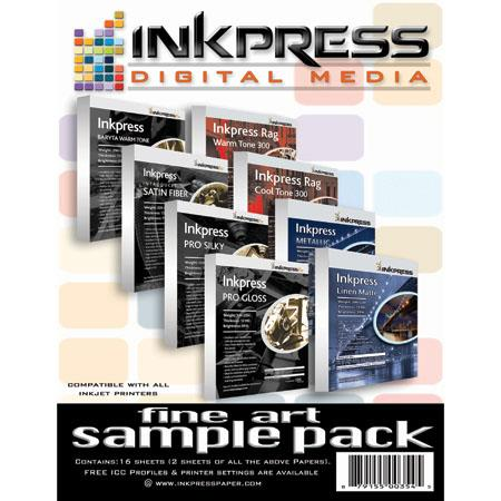 "Inkpress Pro Fine Art Sample Pack, Two 8.5x11"" Sheets each of Warm Tone Rag, Cool Tone Rag , Warm Tone Baryta, Fiber Satin, Pro Gloss, Pro Silky, and Metallic"