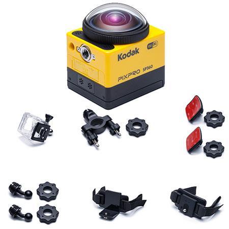 "Kodak PIXPRO SP360 - Explorer Pack - Full HD 1080p Action Camera, 16MP, 17.52MP 1/2.33"" MOS Sensor, Built-In Wi-Fi/NFC Connectivity, HDMI/USB, Yellow"