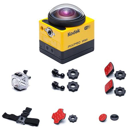 """Kodak PIXPRO SP360 - Aqua Sport Pack - Full HD 1080p Action Camera, 16MP, 17.52MP 1/2.33"""" MOS Sensor, Built-In Wi-Fi/NFC Connectivity, HDMI/USB, Yellow"""