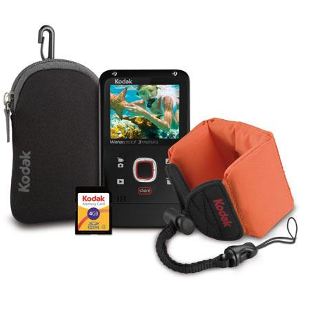 Kodak PLAYFULL Ze2 Black Bundle, includes Waterproof Video Camera, Floating Wrist strap, 4GB Memory Card, Neoprene case, User Guide, and Arcsoft Media Impressio