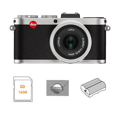 Leica X2 Compact Digital Camera with ELMARIT 24mm f/2.8 ASPH Lens, Silver - Bundle - with SanDisk 16GB, Extreme SDHC Memory Card, Extra BP-DC8 Lithium-ion Battery & New Leaf 3 Year Digital Still Camera Extended Warranty