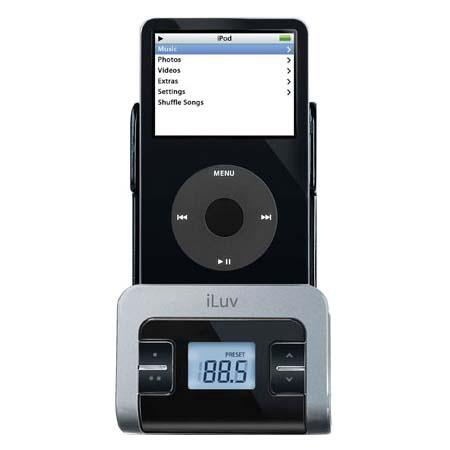 iLuv FM Transmitter with Integrated Car Adapter for the iPod Video (30GB, 60GB, 80GB), nano 1G, nano 2G (only), Color: Black