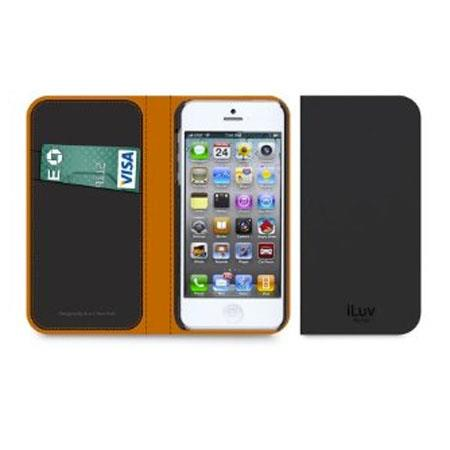 iLuv Leather Diary Premium Book Case for iPhone 5, Black