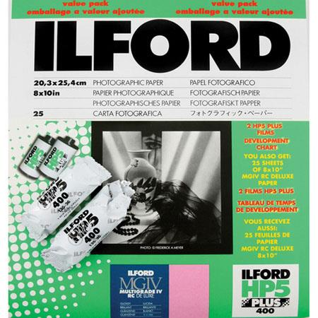 "Ilford Value Pack - HP - 5+ Glossy Surface Pack (consists of one pack 8x10""-25 sheets MG IV RC Glossy Surface Paper - & 2 rolls HP5 135-36)"