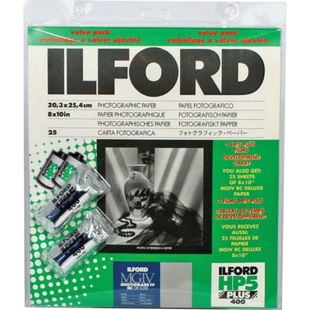"Ilford Value Pack - HP - 5+ Pearl Surface Pack (consists of one pack 8x10""-25 sheets MG IV RC Pearl Surface Paper - & 2 rolls HP5 135-36)"