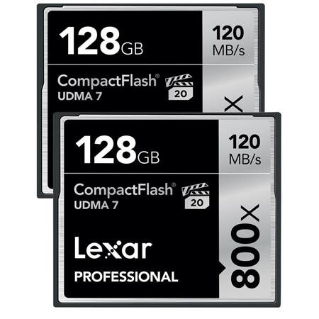 Lexar 128GB Professional 800x CompactFlash Card, 2 Pack