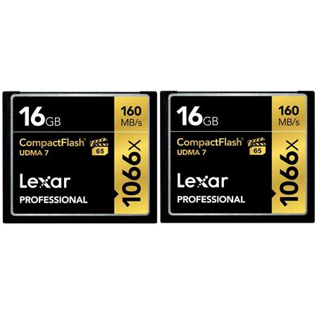 Lexar 16GB Professional 1066x CompactFlash Memory Card - Pack Of Two