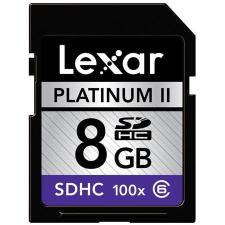 Lexar 8GB 100x Platinum II Series, Secure Digital High Capacity (SDHC) Memory Card image