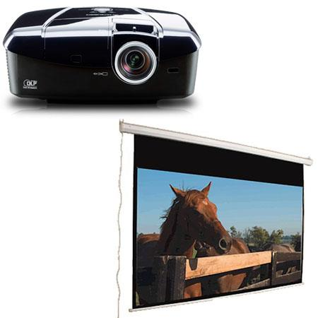 Mitsubishi HC7800D 3D DLP 1080p 1500 Lumens Home Theater Projector, Bundle with 2 Pairs of 3D Glasses, and Mustang Motorized Projection Screen (SC-E120D16:9)