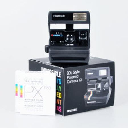 Impossible Black & Silver 600 Camera Kit, Includes Camera, Pack of PX 600 Black Frame Film, Frog Tongue