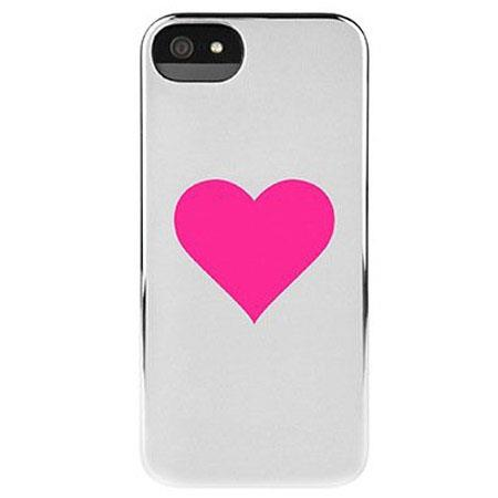 Incase Hearts Snap Case for iPhone 5, Silver Chrome/Single Pink Heart