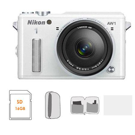 Nikon 1 AW1 Waterproof Mirrorless Digital Camera with AW 11-27.5mm f/3.5-5.6 Lens, White - BUNDLE - with 16GB Class 10 SDHC Card, Camera Case, Lens Cleaning Kit, and 3.0