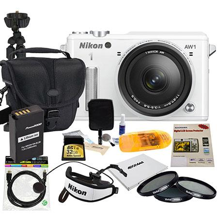 Nikon 1 AW1 Waterproof Digital Camera with 1 Nikkor AW 11-27.5mm f/3.5-5.6 Lens, White - BUNDLE - with 32GB Card, Filter Kit (UV/CP/ND8) , 6' Mini HDMI Cable, Spare Battery, USB2 Card Reader, Camera Case, Hand Strap, Flexible Tripod, LCD Protector, Mem Ca