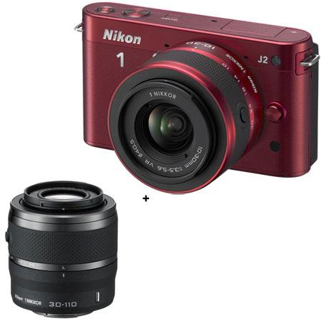 Nikon 1 J2 Mirrorless Camera with 10-30mm (2.7x) Lens, Red - Bundle - with Nikon 1 Nikkor 30-110mm f/3.8-5.6 VR Lens - Black