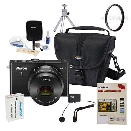 Nikon 1 J4 Mirrorless Digital Camera with 10-30mm VR Lens, 18.4MP, Black - Bundle With 32GB Micro SDHC Card, Camera holster Case, Spare Battery, Cleaning Kit, Screen Protector, Table Top Tripod, Capleash II, Card Reader