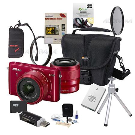 Nikon 1 S2 Mirrorless Digital Camera with 11-27.5mm & 30-110mm Lenses, Red - Bundle With Camera Case, 32GB Micro SD Card, Spare Battery, New Leaf 3 Year (Drops & Spills) Warranty, 40.5MM UV FIlter, 40.5 CPL Filter, Cleaning Kit, Table Top Tripod, Screen P
