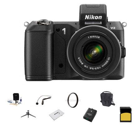 Nikon 1 V2 Mirrorless Digital Camera Body, Black, with 1 10-30mm VR Zoom Lens Black - Bundle - with SanDisk 32GB SDHC Memory Card, LowePro Holster Case, Spare Battery, Pro-Optic 40.5 MC UV Filter, Cleaning kit, SD Card Case, Aluminum Table Top Tripod, Cap