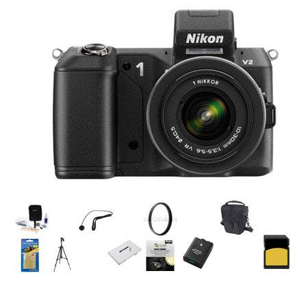 Nikon 1 V2 Mirrorless Digital Camera Body, Black, with 1 10-30mm VR Zoom Lens Black - Bundle with SanDisk 64GB SDHC Memory Card, LowePro Carrying Case, Spare Battery, New Leaf 3 Year (Drops & Spills) Warranty, Sunpack Tripod, Sd Card Case, 40.5 UV Filter,