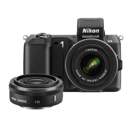 Nikon 1 V2 Mirrorless Digital Camera Body, Black, with Nikon 1 10-30mm VR Zoom Lens (Black) - Bundle - with Nikon 1 Nikkor 10mm f/2.8 Lens (Black), SanDisk 16GB