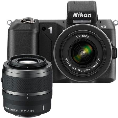 Nikon 1 V2 Mirrorless Digital Camera Two Lens Zoom Kit with Nikon 1 10-30mm VR Zoom Lens and Nikon 1 30-110mm VR Zoom Lens - Black