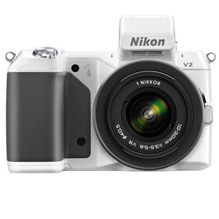 Nikon 1 V2 Mirrorless Digital Camera Body, with 1 10-30mm VR Zoom Lens, White