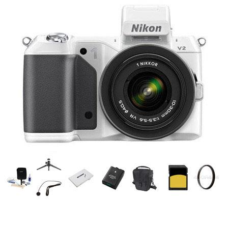 Nikon 1 V2 Mirrorless Digital Camera Body, White, with 1 10-30mm VR Zoom Lens - Bundle - with SanDisk 32GB SDHC Memory Card, LowePro Carrying Case, Spare Battery, Aluminum Table top Tripod, Cleaning Kit, Pro-Optic 40.5mm UV Filter, SD Card Case, Capleash