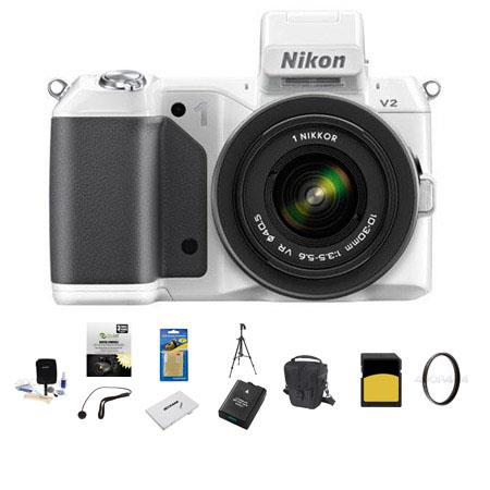 Nikon 1 V2 Mirrorless Digital Camera Body, White, with 1 10-30mm VR Zoom Lens - Bundle with SanDisk 64GB SDHC Memory Card, LowePro Carrying Case, Spare Battery, New Leaf 3 Year (Drops & Spills) Warranty, Sunpack Tripod, Sd Card Case, 40.5 UV Filter, Clean