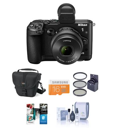 Nikon 1 V3 Mirrorless Digital Camera with 10-30mm f/3.5-5.6 PD-Zoom Lens, - Bundle With Camera Holster Case, 16GB Class 10 Micro SDHC Card, Cleaning Kit, Screen Protector