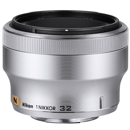 Nikon 1 32mm f/1.2 Lens for 1 Cameras, 28deg. Angle of View, 0.08x Magnification, Silver