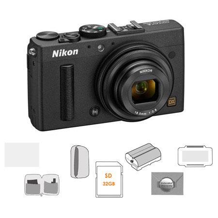 Nikon Coolpix A Digital Camera, 16.2 Megapixel - Bundle With LowePro Camera Pouch, 32GB Class 10 SD/SDHC Card, Spare Battery, New Leaf 3 Year Warranty, Cleaning Kit, Glass Screen Protecrtor, Card Case