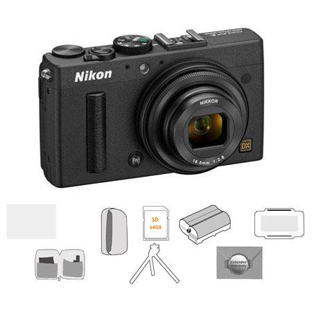 Nikon Coolpix A Digital Camera, 16.2 Megapixel - Bundle With LowePro Camera Pouch, Sandisk 64GB Ultra SDXC Card, Spare Battery, New Leaf 3 Year (Spills & Drops) Warranty, Cleaning Kit, Table Top Tripod, Glass Screen Protecrtor, Card Case