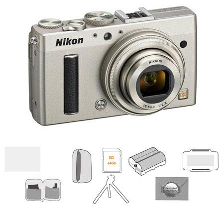 Nikon Coolpix A Digital Camera, 16.2 Megapixel, Silver - Bundle With LowePro Camera Pouch, Sandisk 64GB Ultra SDXC Card, Spare Battery, New Leaf 3 Year (Drops & Spills) Warranty, Cleaning Kit, Table Top Tripod, Glass Screen Protecrtor, Card Case