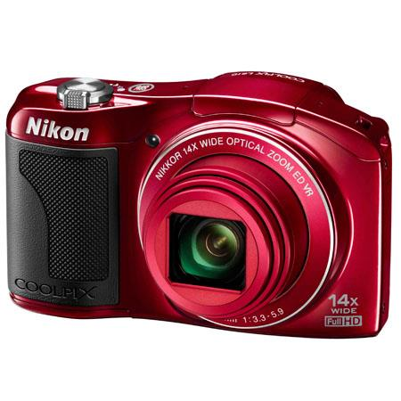 Nikon Coolpix L610 Digital Camera with 14x Optical Zoom-NIKKOR ED Glass Lens (25-350mm), 16.0 MP, Optical VR, Full HD (1080p) Movie, Red