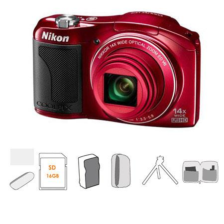 Nikon Coolpix L610 Digital Camera with 14x Optical Zoom-NIKKOR ED Glass Lens, Red - Bundle - with Kingston 16GB Class 4 SDHC Memory Card, USB 2.0 Card Reader, L
