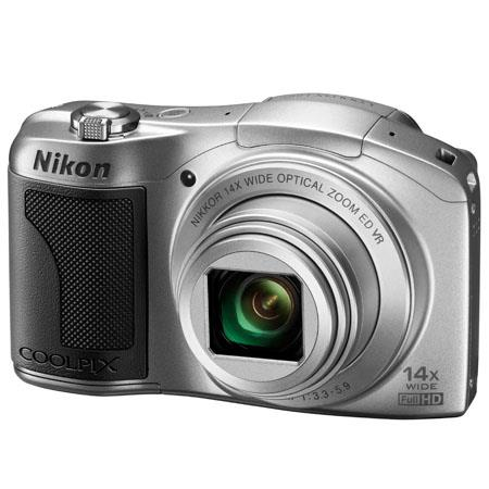 Nikon Coolpix L610 Digital Camera with 14x Optical Zoom-NIKKOR ED Glass Lens (25-350mm), 16.0 MP, Optical VR, Full HD (1080p) Movie, Silver