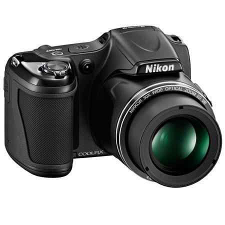 Nikon Coolpix L820 Digital Camera, 16 Megapixels, 30 Optical Zoom, 1080p Full HD Video, Black