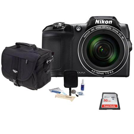 Nikon COOLPIX L840 Digital Camera Black - Bundle With 16GB Class 10 SDHC Card, Camera Case, Cleaning Kit