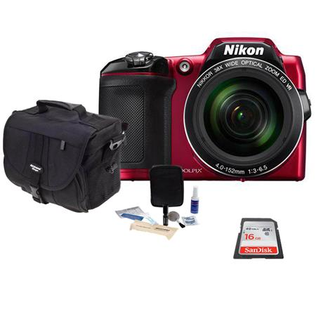 Nikon COOLPIX L840 Digital Camera RED - Bundle With 16GB Class 10 SDHC Card, Camera Case, Cleaning Kit