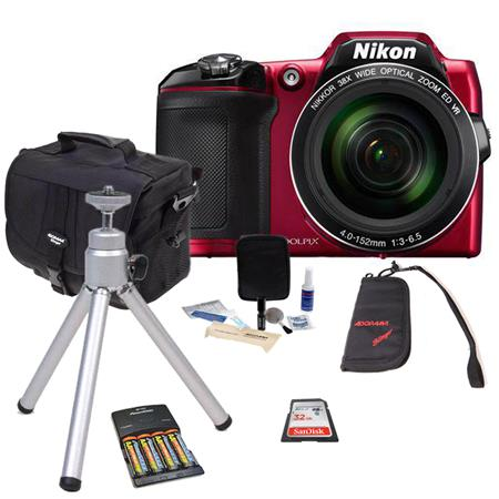 Nikon COOLPIX L840 Digital Camera RED - Bundle With 32GB Class 10 SDHC Card, Camera Case, 4 AA NiMH 2500mAh Batteries/Charger, Table Top Tripod, Memory Wallet, cleaning Kit