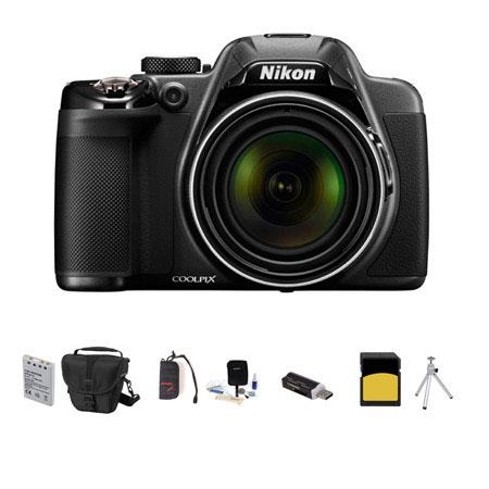 Nikon Coolpix P530 Digital Camera, 16.1MP, - Bundle With Camera Case, 32GB Class 10 SDHC Card, Spare Battery, Cleaning kit, Table Toop Tripod, SD Card Reader