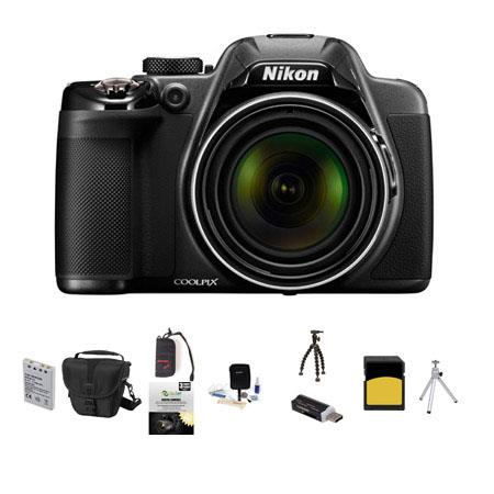 Nikon Coolpix P530 Digital Camera, 16.1MP, - Bundle With Camera Case, 32GB Class 10 SDHC Card, New Leaf 3 Year (Drops & Spills) Warranty, Spare Battery, Cleaning kit, Table Toop Tripod, SD Card Reader, Sunpack Flexpod Pro Gripper