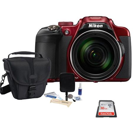 Nikon COOLPIX P610 Digital Camera, 16MP, 60x Optical Zoom, RED - Bundle With 16GB Class 10 SDHC Card, Camera Case, Cleaning Kit