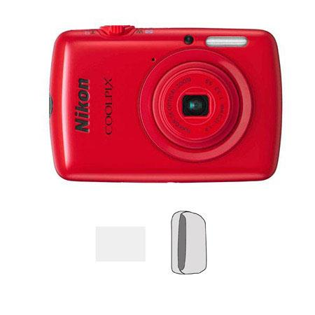 Nikon Coolpix S01 10.1 Megapixel Digital Camera Red, Bundle - with Camera Case & Digital Camera Pro LCD Screen Protector Kit