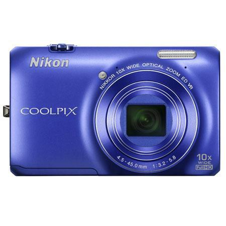 Nikon Coolpix S6300 16 Megapixel Digital Camera - Blue - Refurbished by Nikon U.S.A.