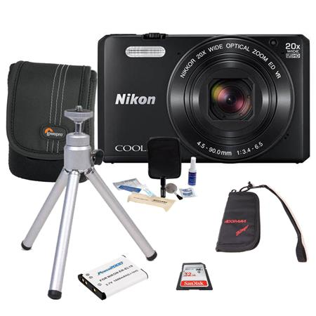 Nikon COOLPIX S7000 Digital Camera, Black - Bundle With Camera case, 32GB Class 10 SDHC Card, Spare Battery, Cleaning Kit, Table Top Tripod, Memory Wallet