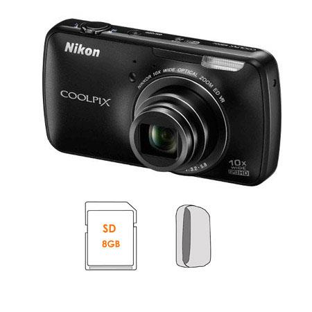 Nikon Coolpix S800c Digital Camera with 16 Megapixel, Black - Bundle - with SanDisk 8GB, Extreme Secure Digital High Capacity (SDHC) Memory Card & Lowepro Dublin 20 Camera Pouch, Black / Black
