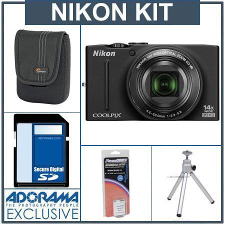 Nikon Coolpix S8200 Digital Camera Kit - Black - with 4GB SD Memory Card, Camera Case, Table Top Tripod, Spare EN EL-12 Lithium-Ion Battery