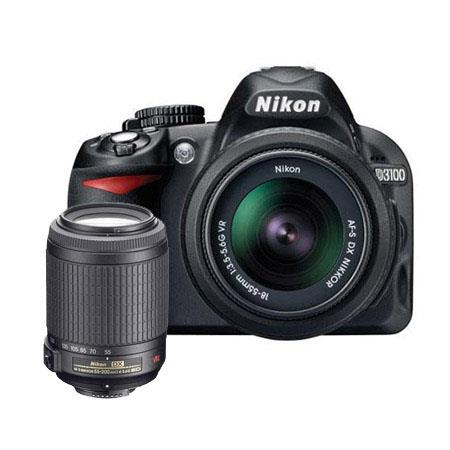 Nikon D3100 Digital SLR Camera with 18-55mm NIKKOR VR Lens, & 55mm - 200mm f/4-5.6G ED AF-S VR Zoom Lens U.S.A. Warranty