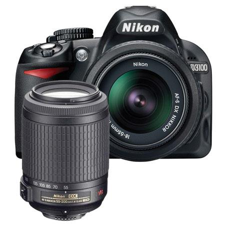 "Nikon D3100 DX Kit with 18-55mm VR and 55-200mm VR Lenses 14.2MP, 1080P, 3"", Live View"